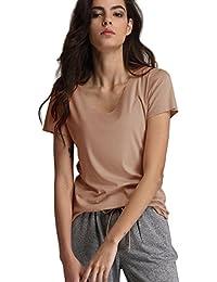 Escalier Camiseta de Manga Corta Blusas Casuale con Cuello en V T-Shirt de Color Solido Tops para Mujer