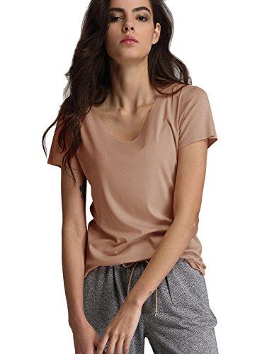 Escalier Femmes T-shirt Basique en Coton Col rond Manche Courte Tops chameau