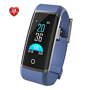 Smart Fitness Trackers, Color Screen Activity Tracker Waterproof IP67 Fitness Watch with Heart Rate Monitor Smartwatch for Kids Women and Men Call SMS SNS Notification Push Blue