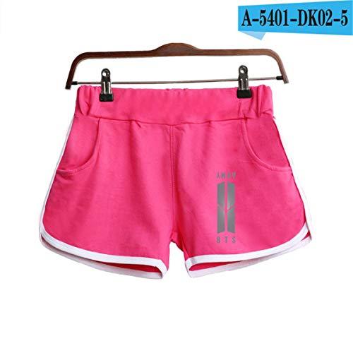 Summer Fashion Shorts Women Elastic Waist Short Women's All-Match Loose Solid Soft Casual Short Femme pink2 L -