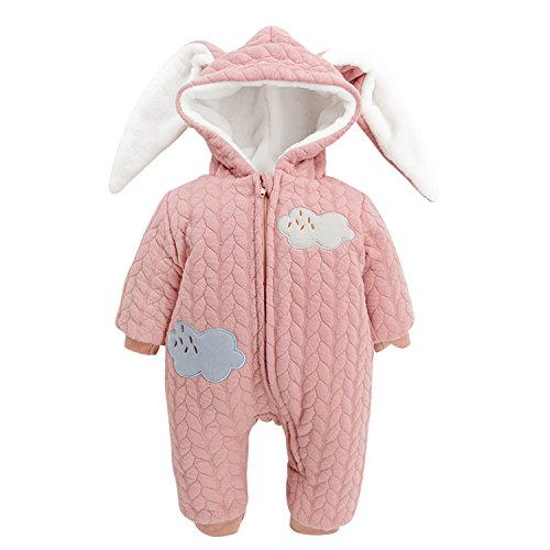 CHIC-CHIC Baby Kleidung Overall Säugling Mit Ohren Kapuze Mantel Hase Herbst Winter Jacke Dick Warm Kleider Lange Ärmel Oberkleidung (Jacke Kleid Rosa)