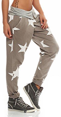 malito Damen Sweatpants in Wickel Optik | Sporthose mit Stern Muster | Baggy zum Tanzen | Jogginghose 3319 Fango