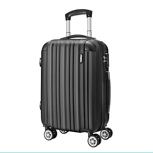 Amasava Valigia rigida, valigie, valigia trolley medio, 55 cm, 40 litri, lucchetto TSA, 4 ruote multidirezionali,Nero