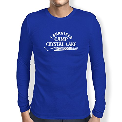 Camp Crystal Lake - Herren Langarm T-Shirt, Größe XL, marine (John Carpenter-halloween Zurück)