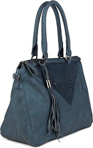 styleBREAKER Shopper Tasche mit Metall-Cutout in Stern Form und Quaste, Schultertasche, Umhängetasche, Handtasche, Damen 02012180, Farbe:Dunkelblau Dunkelblau