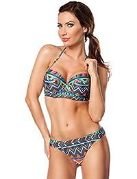 Atixo - Push-Up Bikini für Damen - Blau/Orange/Grün