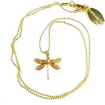 GLOWYBOX Kurze Kette 42 cm 14k Vergoldet mit filigraner Libelle Länge 1,5 cm Libelle Gold im Artdéco Design