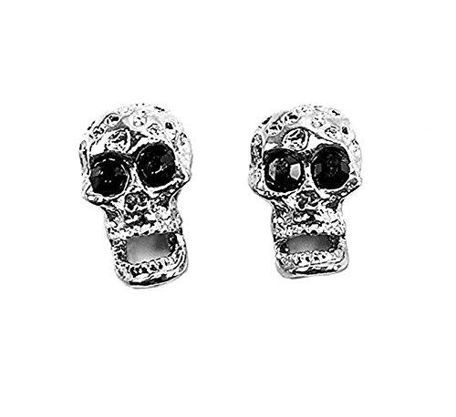 Totenkopf-Ohrringe silber Herren Damen Earrings hochwertige Magnet Ohrring-Set Manschetten-Knöpfe Hemd-Kragen Accessoire 2 Stk, Top verarbeitet viele Modelle (silver-black)