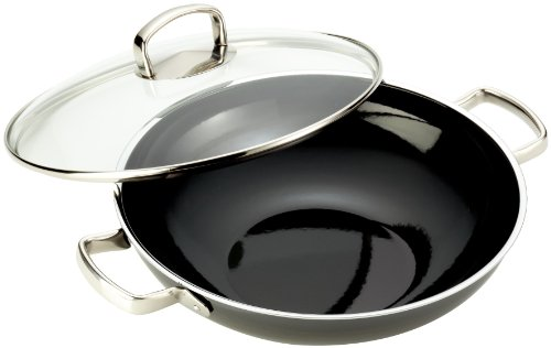 Silit Wok-Set 2-Piece Uncoated Ø 32 cm Black Made in Germany Pouring Rim Stainless Steel Handle Silargan® Functional Ceramic Suitable for Induction Hobs Dishwasher-Safe
