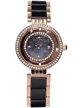 Stella Maris Damen Armbanduhr - Analog Quarz - Premium Keramik Armband - Perlmutt Zifferblatt - Diamanten und...
