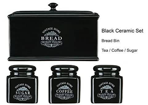Tea Coffee Sugar Bread Bin Set OF 4 Black Vintage Ceramic