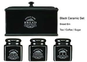 aufbewahrungsbeh lter aus keramik f r tee kaffee zucker brot vintage stil schwarz 4 st ck. Black Bedroom Furniture Sets. Home Design Ideas