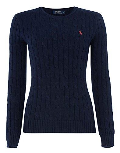 Ralph Lauren,pullover girocollo da donna, lavorato a maglia con motivo a trecce White Medium