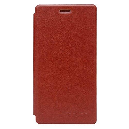 Guran® PU Leder Tasche Etui für UMI Fair Smartphone (Keine Innenschale) Flip Cover Stand Hülle Case-braun