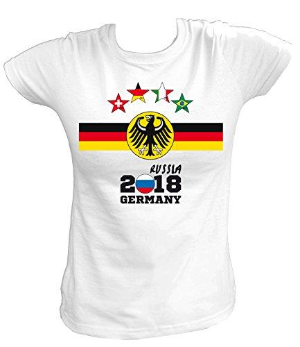 20ad0b4cc6e54a Artdiktat Damen T-Shirt - Deutschland Trikot Weltmeisterschaft 2018  Wunschname und -Nummer Am Rücken