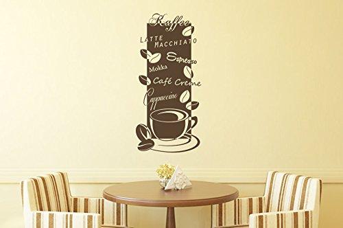 Wandtattoo-bilder® Wandtattoo Kaffee Nr 3 Coffee Cafe Küche Esszimmer Banner Wandsprüche Größe 45x95, Farbe Braun