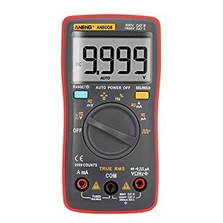 Amazingdeal AN8008 True-RMS Digital Multimeter 9999 Counts Square Wave Voltage Ammeter (Red)