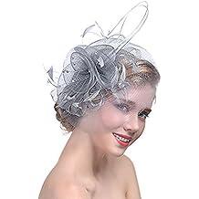 Femme Coiffure Mariage Chapeau Fascinator Soirée Chapeau bibi mariage Bibi chapeaux élégant Mini Brêt Cocktail Pince à Cheveux Plume Orné Fleurs Kit de Fête Plage Mariage Cocktail Derby