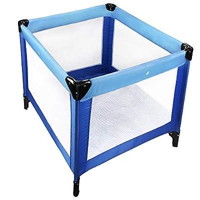 Todeco - Cuna de Viaje, Cuna Parque de Viaje - Carga máxima: 25 kg - Accesorios: (1x) Bolsa de transporte - Estándar del CE, 93 x 93 x 76 cm, Azul cielo/Azul marino
