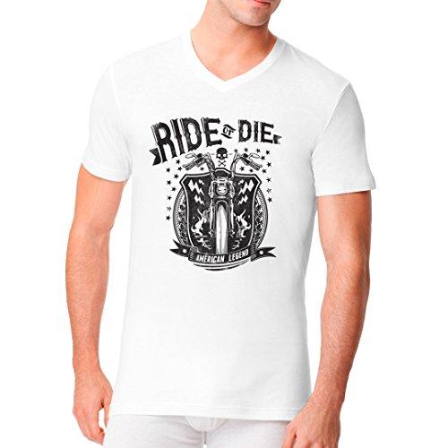Biker Männer V-Neck Shirt - Ride Or Die Biker by Im-Shirt Weiß