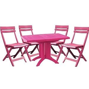 Salon de jardin grosfillex table 4 chaises vert anis - Salon de jardin grosfillex vega vert anis ...