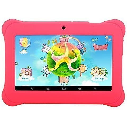 iRULU - Tablet para niños de 7 pulgadas, 1GB RAM, 8GB Nand Flash Quad Core, Resolución HD de 1024x600, Android 4.4 KitKat, Certificación GMS de Google, Color Rosa con funda de silicona