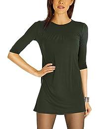 Bestyledberlin Damen Longtop Minikleid, Longshirt Oberteil A-Linie, kurzes Kleid Halbarm t65pn