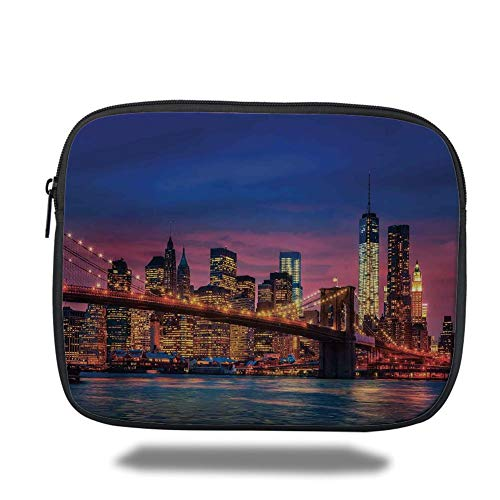 Laptop Sleeve Case,New York,NYC That Never Sleeps Image Neon Lights Reflections on East River City Image Print,Pink Blue,Tablet Bag for Ipad air 2/3/4/mini 9.7 inch - New York-slim Briefcase