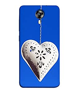 FUSON Designer Back Case Cover for Micromax Canvas Xpress 2 E313 (Love Heart With Secrets Cute Logic Blue Background red Heart)