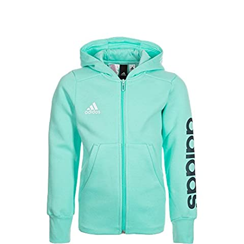 adidas Essentials Linear Trainingskapuzenjacke Kinder mint / dunkelblau, 152