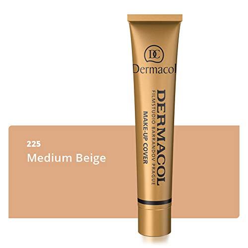 Dermacol Deckendes Make-up Cover für Gesicht und Hals - Wasserfeste Foundation mit LSF 30 für einen makellosen Teint - Stark deckendes helles Medium Beige 225, 30g