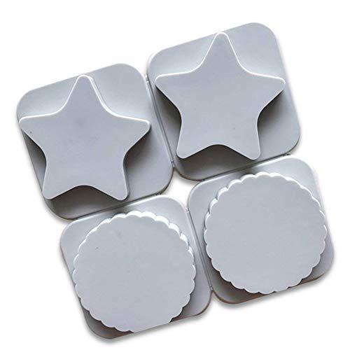XiangChengShiDing Silikon-Plätzchen-Formen 4 Hohlraum-3D-Stern-Form-Fondant-Dekorations-Werkzeuge Schokoladen-Form DIY Backen-Werkzeug Hausgemachte Weihnachts-Biskuit-Form (1pc)