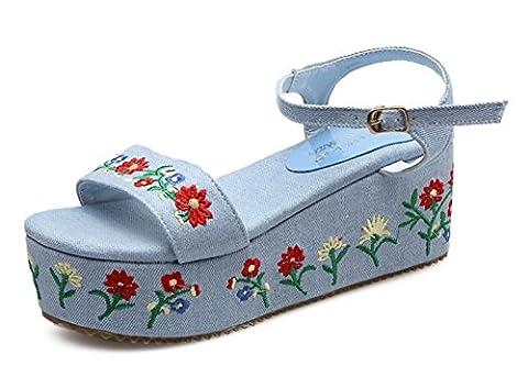 Easemax Women's Chic Mid Wedge Heel Denim Embroidered Open Toe Ankle Buckle Strap Floral Platform Sandals (Navy Blue, 6 UK)