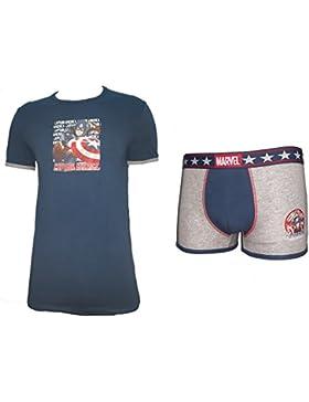 coordinato intimo uomo t-shirt girocollo + boxer CAPITAN AMERICA marvel cotone elasticizzato art. MV39001