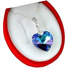 Crystals & Stones Colgante con forma de corazón, 18 mm, cadena de plata de plata de ley 925 con cristales Swarovski y funda, ideal como regalo para mujer, color heliotropo