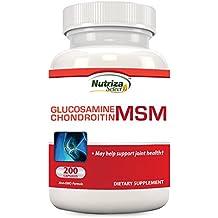 Nutriza Select Nutriza Glucosamine Chondroitin MSM Nahrungsergänzungsmittel zur Unterstützung der Gelenke, 200 Kapseln, Hergestellt in den USA, GMP-zertifizierte Einrichtung, Baut Knorpel auf, Fördert