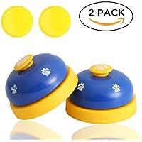 2 Stück Trainingsglocken für Haustiere, hunde klingel, mit 2 rutschfeste matte Hund Katze Türklingeln Pet Interaktion Spielzeug (blau)