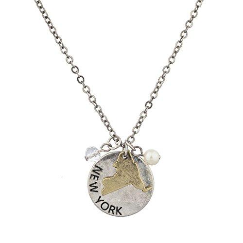 LUX Zubehör Burnish Silber New York State NY Form Charme Halskette (Bralette Nur Von Die Herzen,)