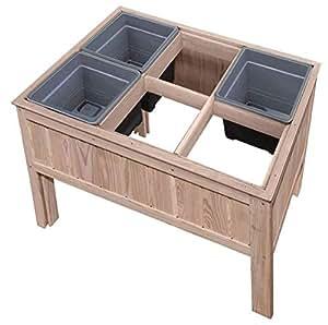 gartenpirat hochbeet f r kr uter oder gem se aus l rchenholz 100x69x80 cm f r balkon. Black Bedroom Furniture Sets. Home Design Ideas