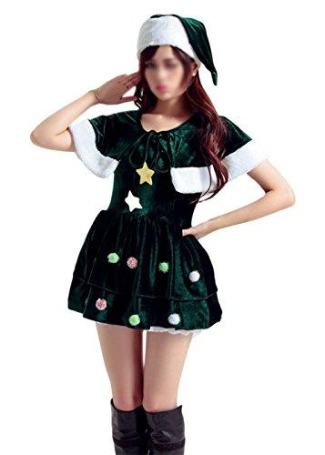 Santa Sexy Kostüm Billig - Scothen Sexy Damen Weihnachten Kostüm Kleid Damen Weihnachtskleid Santa Kostuem Tanzkleid Off Schulter Minikleid Weihnachtsmann Damen Kostüm BH Set Miss Santa für die Weihnachtsfeier oder Party