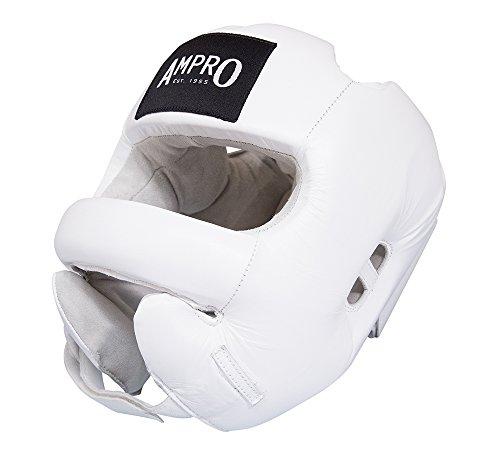 Ampro profesional de cara completa Bar Protector de cabeza–de boxeo/entrenamiento/sparring, color blanco, tamaño mediano
