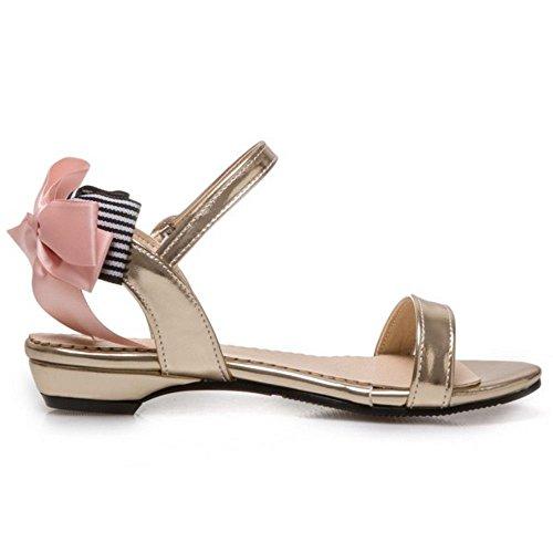 TAOFFEN Damen Beilaufig Sommer Slingback Fesselriemen Schnalle Flach Sandalen mit Bogen Gold