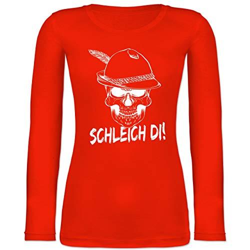 Shirtracer Oktoberfest Damen - Totenkopf Schleich di! - weiß - S - Feuerrot - BCTW071 - Langarmshirt Damen -