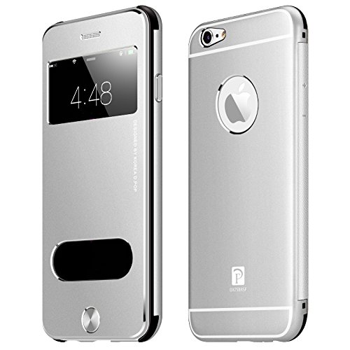 Oats® Premium Hülle für Apple iPhone 6, 6s Schutzhülle in stylischem Aluminium Schutzhülle mit Sichtfenster Anrufe schnell Annehmen Hard Cover Flip Back Case Tasche Bumper - von OKCS® in Rose Gold Silber