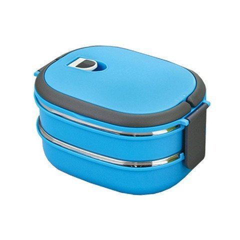 ON GATE Homio Vacuum Lunch Dinner two layer Tiffin Box For School Office 900Ml Inner Stainless Steel-Blue