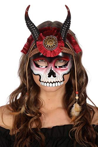 Wilbers Kostüm Zubehör Maske Totenkopf mit Hörnern Halloween