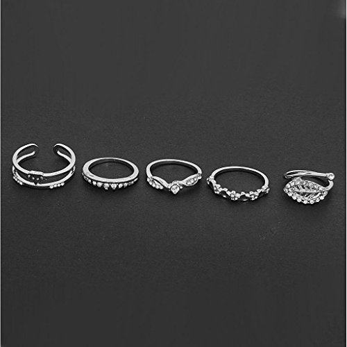 Set of 5pcs Diamond Ring Sets Charming Crystal Parties Fashion Design Silver