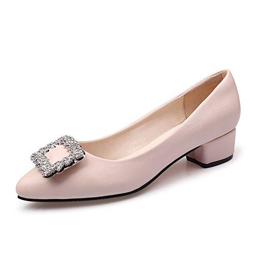 HN Shoes Damen Schlüpfen Niedrig Block Absätze Pumps Diamant Komfort Arbeit Büro Loafer Gericht Schuhe Mädchen Größe, apricot, EUR 40/UK 7 (Kinder Sparkly Schuhe)