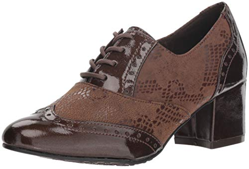 Soft Style by Hush Puppies Women's Gisele Oxford, mid Brown Snake/Pearlized Patent, 10 W US (Womens Patent-oxford-schuhe)