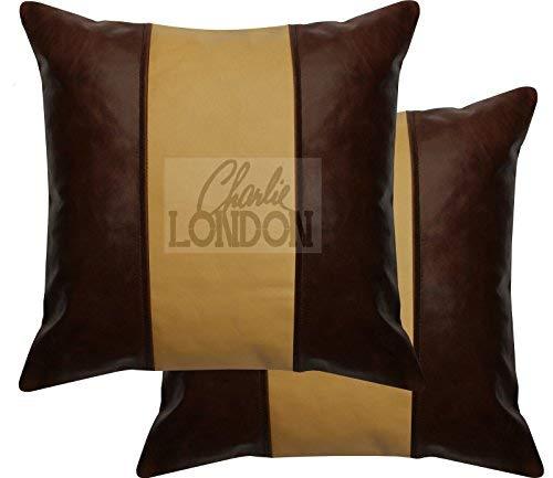 Charlie LONDON 2 x Ocre Marron et marron vintage à rayures en cuir d'origine Housses de coussin